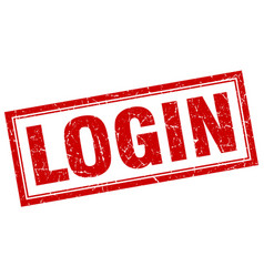 Login red square grunge stamp on white vector
