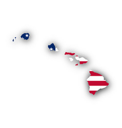 Map and flag of hawaii vector