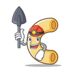 Miner macaroni mascot cartoon style vector