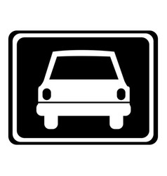 Monochrome silhouette with automobile front view vector