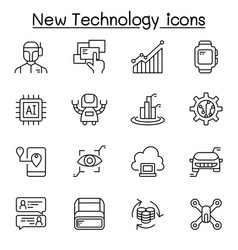 New technology icon set in thin line syle vector