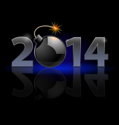 New year 2014 metal numerals with bomb instead of vector