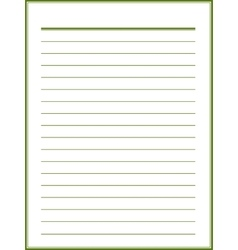 Notebook paper with green lines vector