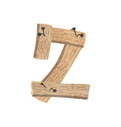 number 2 wood board font two symbol plank and vector image