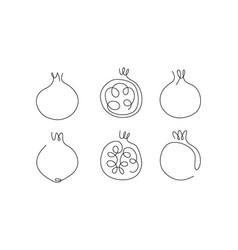 One line art style garnet abstract creative food vector