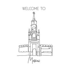 one single line drawing spasskaya tower landmark vector image