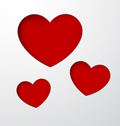 Paper red hearts vector image