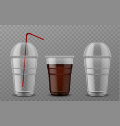plastic cup with sphere dome cap empty vector image