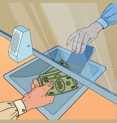 pop art clerk giving cash money to customer vector image