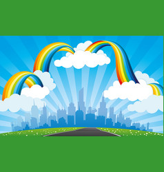 rainbow with clouds in blue sky and city vector image