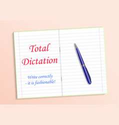 Red text total dictation write grammatically it s vector