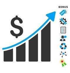 Sales Growth Bar Chart Flat Icon With Bonus vector image