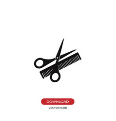 scissors and comb icon vector image