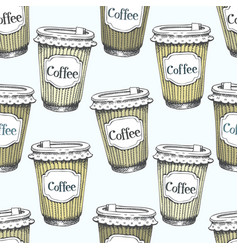 Seamless pattern with hand drawn cups of coffee to vector