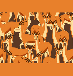 seamless pattern with of gazelles vector image