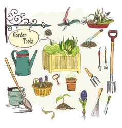 Sef of gardening tools vector