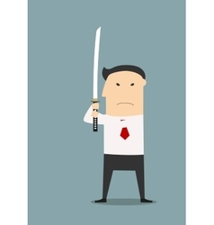 Serious businessman with katana sword vector