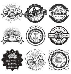 set bicycle rental badges labels logo vector image