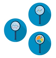 Set icons business analysis with magnifying glass vector
