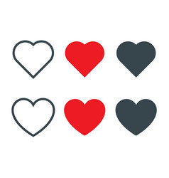 set of different heart shapes icon vector image