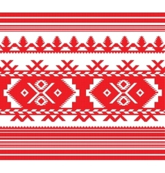 Set of ethnic ornament pattern in red color vector