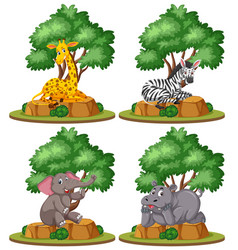 set of isolated wild animal vector image