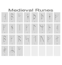 set of monochrome icons with runic alphabet vector image