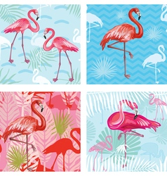 Set of Seamless patterns with flamingoes vector