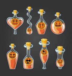 Set with different bottles pumpkin potion vector