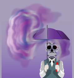 skull holding an umbrella vector image