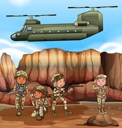 Soldiers figthing in the battle field vector