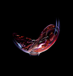 splash red wine in a glass isolated on a black vector image