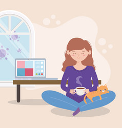 Stay at home pregnant woman with coffee and cat vector