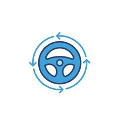 Steering wheel with arrows blue icon car vector
