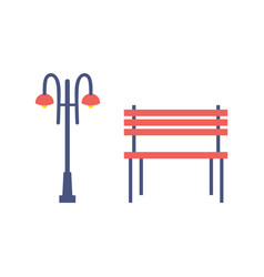 Street light and bench cartoon isolated icons vector