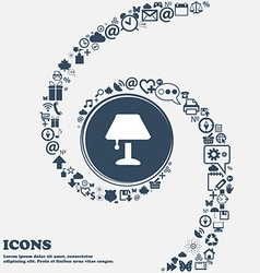 Table lamp Icon in the center Around the many vector image