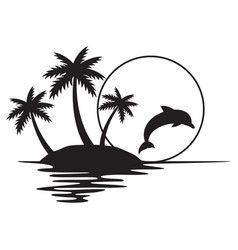 Tropical island with palms sunset and dolphin vector