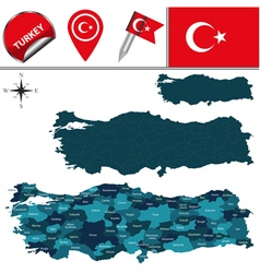 Turkey map with named divisions vector