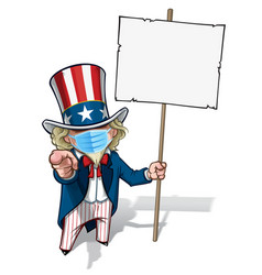 Uncle sam i want you placard - surgical mask vector