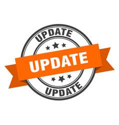 Update label update orange band sign update vector