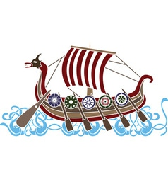 Vikings boat colored vector