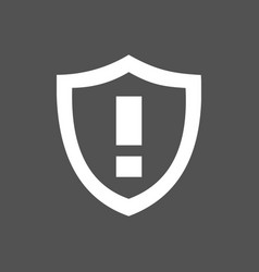 warning shield icon on a dark background vector image