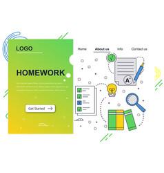Web site linear art design template school vector