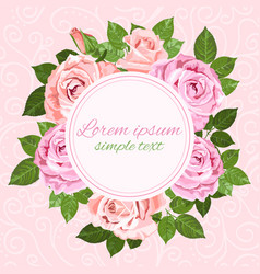 wedding invitations with pink and beige roses vector image