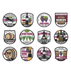 Winery wine making houses and vineyards icons vector