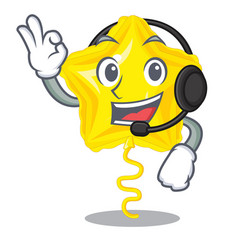 with headphone star balloon on wooden cartoon vector image