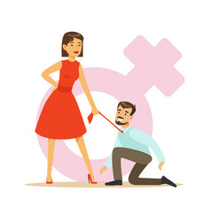 woman in red dress holding her man by his tie vector image