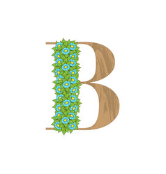 wooden leaves letter b vector image
