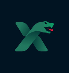 X letter logo with snake head silhouette vector