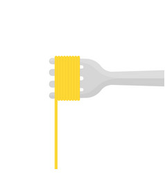 fork with pasta isolated on white vector image